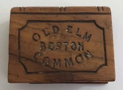 Vintage Wood Souvenir Carved From GREAT OLD ELM Boston Common 17th Century Tree