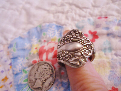 Ornate Vintage Silver Spoon Ring Grapes/leaves Size 5 1/2