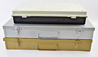 Photo Slide or Coin Storage Organizers Lot of 3 Metal & Plastic Containers