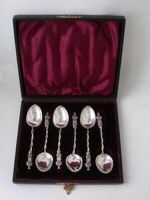 Boxed Set of 6 Antique Victorian Apostle Top Solid Silver Coffee Spoons 1896
