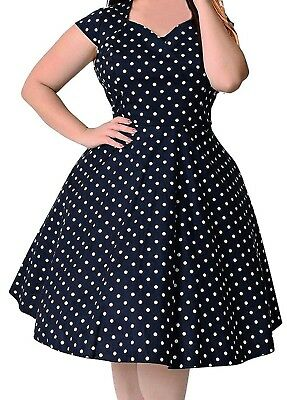 69b1022199 1950S VINTAGE STYLE Navy Blue w/ White Polka Dot Plus Size US 24 Swing Dress