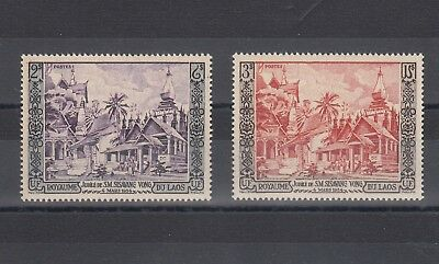 Timbre Stamp  2  Laos  Y&t#28-29 Temple Jubile  Neuf**/mnh-Mint 1954 ~B70