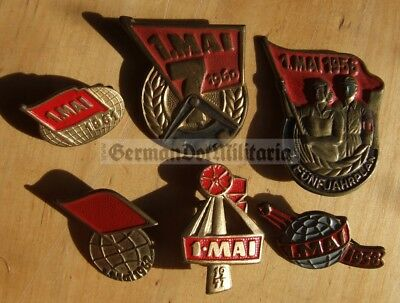 m13) c1950's & c1960's East German May Day pin badges collection DDR GDR