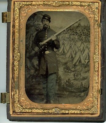 Quarter-Plate Tintype Infantry Soldier Holding Musket/rifle, Great Back Drop