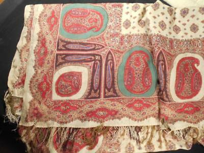 "Hard To Find Antique Vintage 124"" Printed Paisley Xmas Colors,early 19Th Cent"