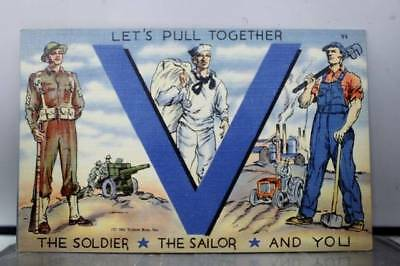 Military Victory Soldier Sailor You Pull Together Postcard Old Vintage Card View