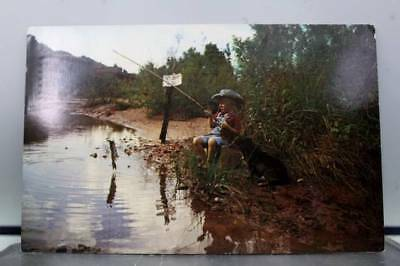 Scenic Fishing Fish Dinner Child Postcard Old Vintage Card View Standard Post PC
