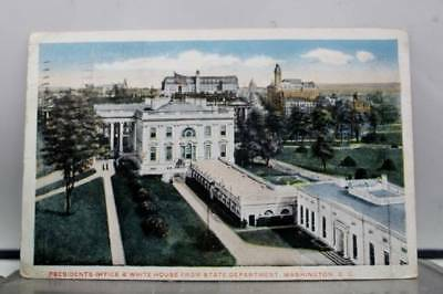 Washington DC State Department White House Presidents Office Postcard Old View