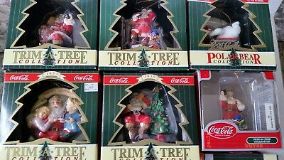Lot 6 Coca Cola Coke Trim A Tree Collections Santa's Christmas Ornaments Mint