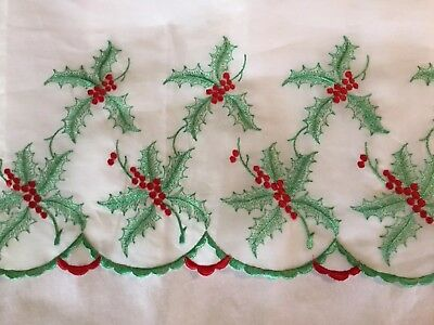 Vintage Christmas Fabric Organdy White W/embroidery Holly Leaves& Berries Border