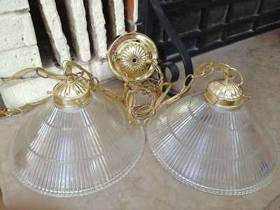 VTG New MCM Art Deco Double Swag Pattern Glass Ceiling Chandelier Light Fixture