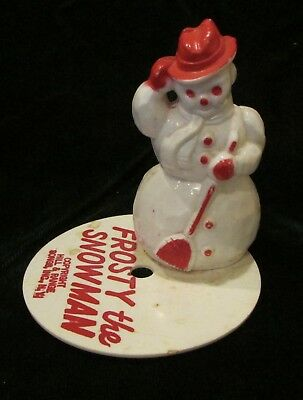 Vintage Plastic Snowman REd Hat Frosty The SNowman BAse
