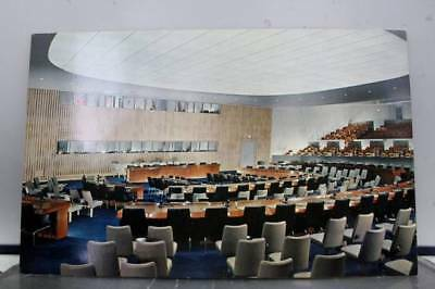 United Nations UN General Assembly Committee Room Postcard Old Vintage Card View
