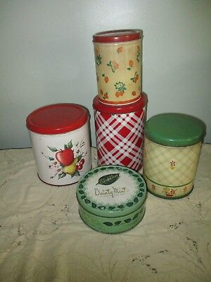 Vtg Mixed Lot Metal Canisters & Dainty Mint Tin Crafts Office Storage Display