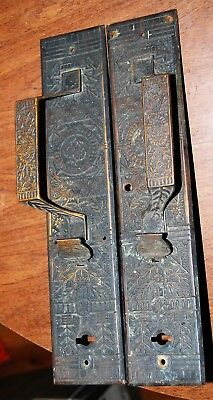 "Antique Victorian Eastlake pair of handles and backplates 12"" x 2.5"""