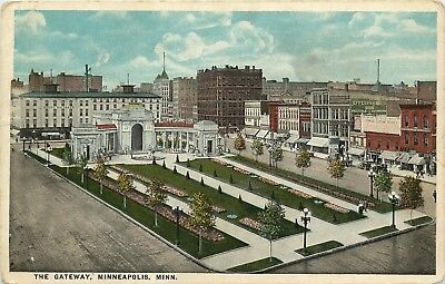 Minneapolis, Minnesota, MN, The Gateway, White Border Vintage Postcard d8629