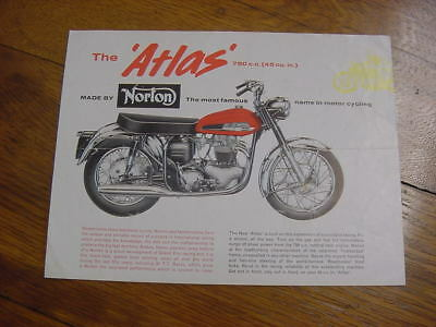 Vintage Original motorcycle Norton Atlas 750 brochure