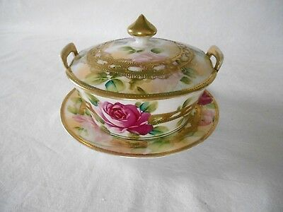 Beautiful NIPPON RED PINK ROSES & GOLD 4 PC BUTTER DISH TUB Blue Maple Leaf Mark