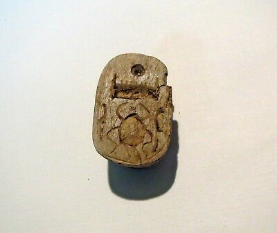 ANCIENT EGYPTIAN DUG Scarab Beetle Pendant - CARVED SPIDER HIEROGLYPHS