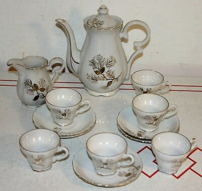 Vintage 14 Piece Porcelain Tea Set with Earth Tone Decoration - Made In Japan