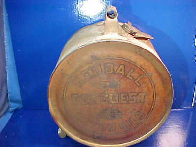 Orig 1920s KENDALL MOTOR OIL 5 Gal ROCKER Style ROUND EZ POUR Can