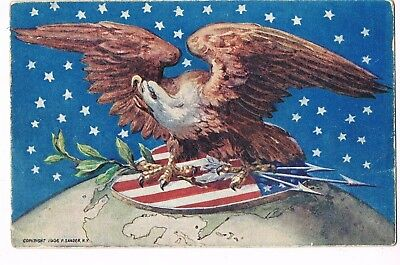 ANTIQUE EMBOSSED PATRIOTIC Postcard      EAGLE AND SHIELD ON TOP OF GLOBE, STARS