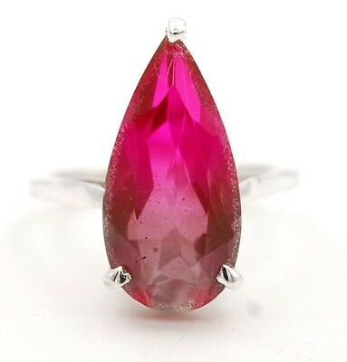 3CT Rubellite Tourmaline 925 Solid Genuine Sterling Silver Ring Jewelry Sz 5.25