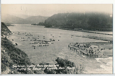 Salmon Fishing at Klamath River Mouth, CA. Real Photo RPPC postcard 1930s