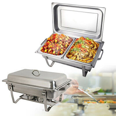 2Pack 9 Quart Stainless Steel Rectangular Chafing Dish Full Size Buffet Food Pan