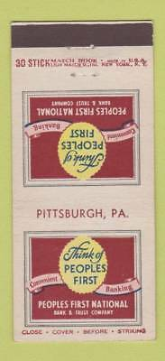 Matchbook Cover - Peoples First National Bank Pittsburgh PA 30 Stick
