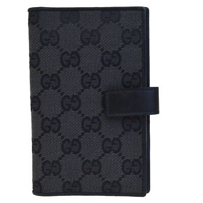 Authentic GUCCI GG Pattern Agenda Cover Day Planner Canvas Leather Black 08EC683