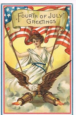 ANTIQUE EMBOSSED FOURTH OF JULY Postcard   LADY LIBERTY, EAGLE, AMERICAN FLAG