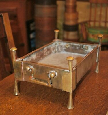 Antique Brass Footed Box Stand Fireplace Coal Box Victorian Xmas Decor