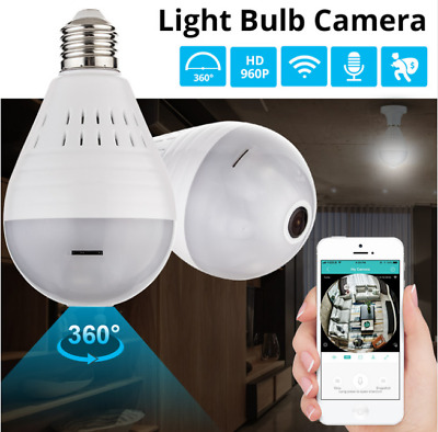 SPY Hidden Mini Security IP Camera 360° Panoramic 960P Wifi Wireless Light Bulb
