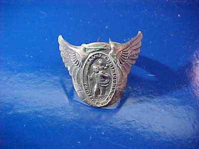 1950s ST CHRISTOPHER Automobile STEERING WHEEL Medal WINGED BADGE