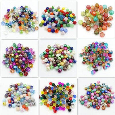 Wholesale Mixed 100pcs Rondelle Faceted Crystal Glass Loose Spacer beads 6x8mm