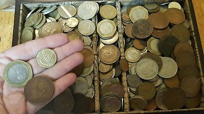 Huge Lot 7 lbs pounds + Lot of  World Foreign Coins with box weight 10 lbs