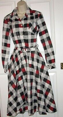 Vtg NWT Carolina Maid Shirtwaist Rockabilly 50's Style Dress size 10 belt plaid