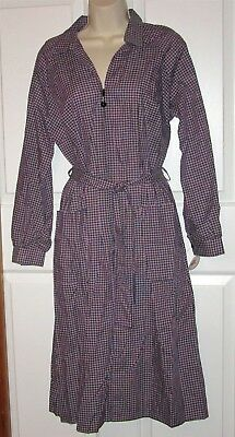 Vtg NWT Carolina Maid Housedress 50's Style Dress size 12 1/2 belt black plaid