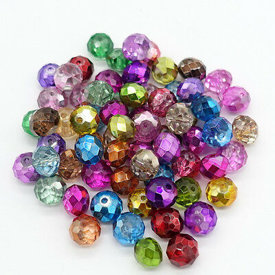 New mixLots Rondelle Faceted Crystal Glass Loose Beads Spacer beads 4mm6mm8mm