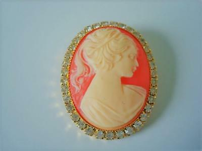 Vintage Oval Cameo Lady Pin Brooch With Clear Rhinestones Around Border