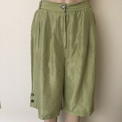 Vintage High Waisted Mint Green Silk Culottes Size 12 Pastel Summer 1980s 1990s