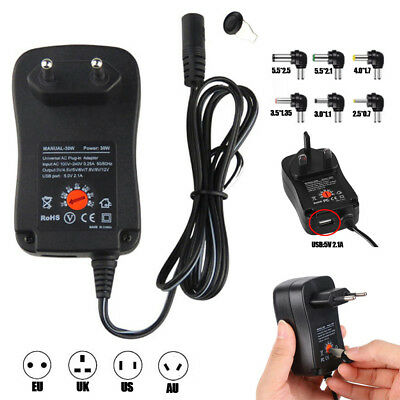Universal Adjustable AC/DC Power Adapter 12W/30W Power Supply Plug Charger New