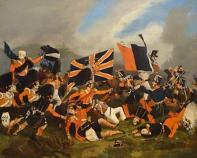 Fine 19th Century Black Watch Battle Of Waterloo Napoleonic Wars Oil Painting