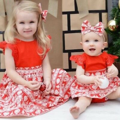 Christmas Baby Girl Sisters Kids Xmas Lace Romper Dress Headband Party Gift 0-6T