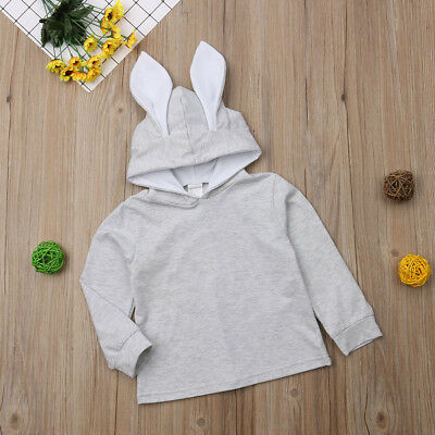 Baby Girls Kids Cute Rabbit Ear Jacket Hoodies Coat Outwear Sweater Clothes 1-6T