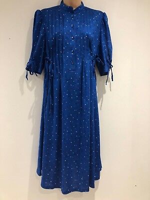 Vintage 80s Royal Blue Triangle Print Pleated Tie Side Smock Style Dress 16-18