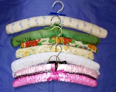 7 vintage fabric lace satin padded wooden coathangers clothes hangers