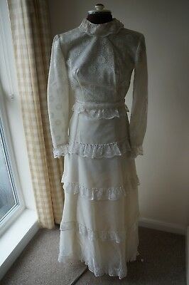 True Vintage Ivory Hand Made Wedding, Long Sleeve, Layered Lace, Dress Size S