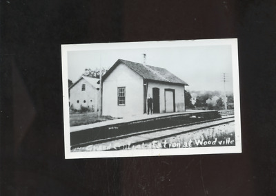 old Woodville RI photo postcard, railroad station, depot, repro, Rhode Island